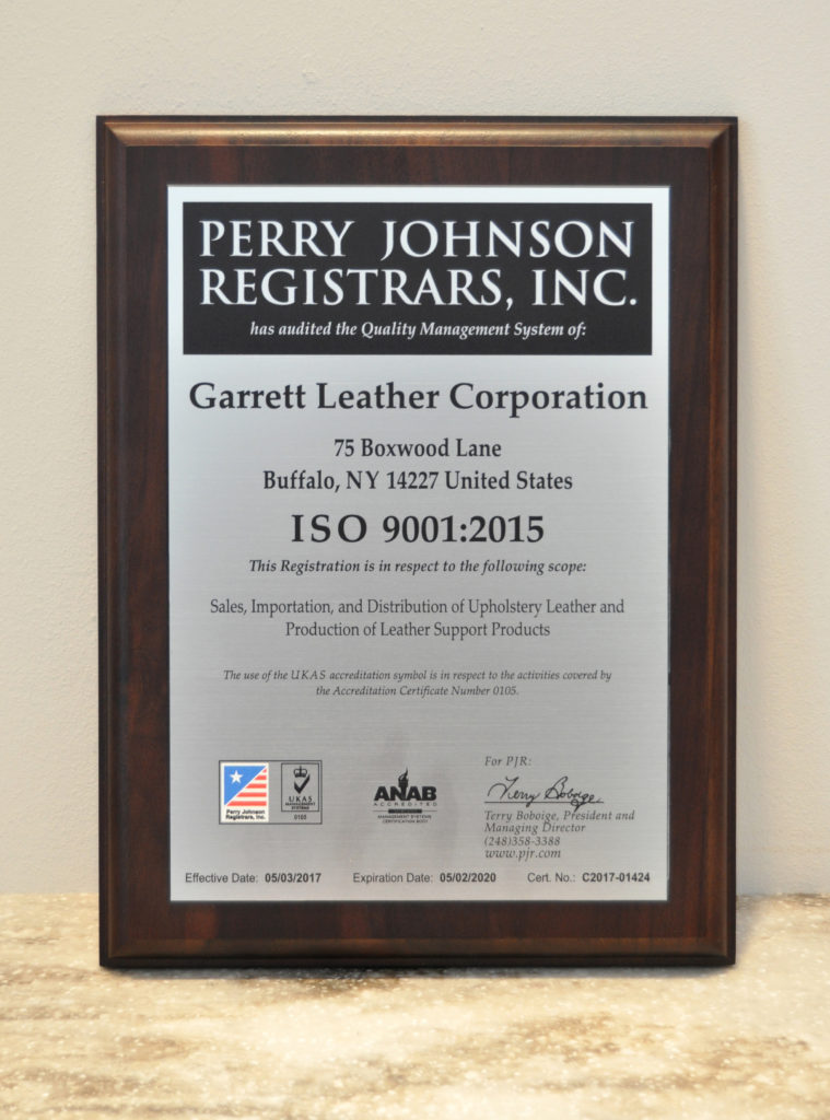 Garrett Leather Earns Iso 9001 Certification Garrett Leather