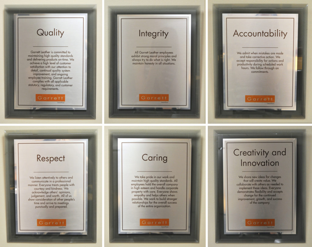 Garrett Leather's Core Values